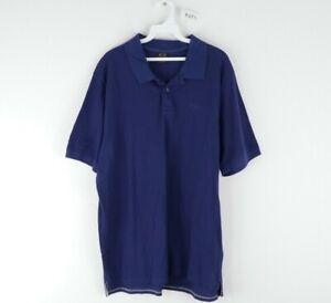 Oakley Mens XL Stitched Logo Bubba Watson Short Sleeve Golf Shirt Navy Blue