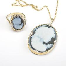 Jewelry Set with Fine Agate Cameo, 14 Carat Gold Diamonds, Ring + Pendant