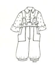 """pant shirt suspender sewing pattern 13 14"""" fits Little Darling Kish Betsy doll"""