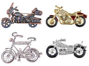 Silver Crystal Enamel Rhinestone Motorcycle Bicycle Racer Fun Pin Brooch Jewelry
