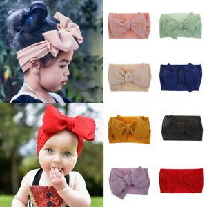 Baby Soft Big Bow Tie Head Wrap Turban Top Knot Headband Newborn Girl Spandex