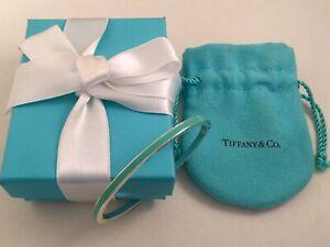 Tiffany & Co Silver & Blue Enamel Stripe Bangle Bracelet VERY RARE