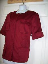 Womens Blazer jacket suit Sport Coat Shirt Short Sleeves Red Worthington Size 16