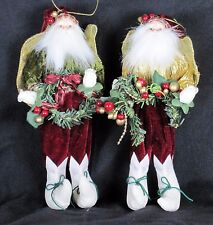 "Elegent Twin Elves Santa's Helpers 2 Matching Christmas ornaments each 8.5"" tall"