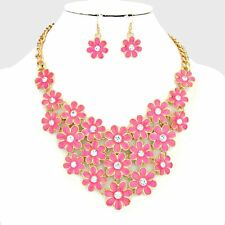 Waterfall Fuchsia Bouquet Flowers Crystal Centers Statement Necklace Set