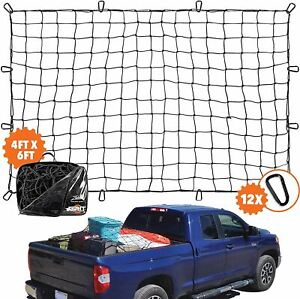 4'x6' Super Duty Truck Cargo Net for Pickup Truck Bed Stretches to 8'x12' | 12 T