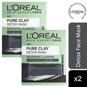 2 Pack L'Oreal Paris Face Mask Pure Clay Charcoal Detox & Clarifying 50ml