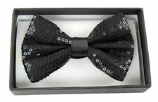 UNISEX ADULT KID BLACK SEQUIN SEQUENCE PATTERN ADJUSTABLE STRAP BOW TIE-NEW