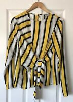 ASOS YELLOW BLACK STRIPED TIE FRONT BLOUSE TOP UK 12