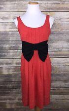 H&M Red Polka Dot Dress Pinup Rockabilly Bow Pockets Sleeveless Sz 6