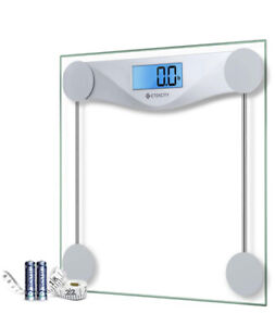 Etekcity 400 lb Digital Bathroom Scale - Clear/silver with Measuring Tape