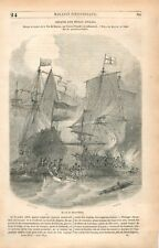 Bataille Navale Amiral Michiel de Ruyter Dessin Morel-Fatio GRAVURE PRINT 1849