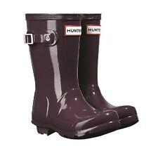 Kids Childs Girls Hunter Wellington BOOTS Wellies Purple Gloss Size UK 9 EU 27