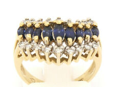 Vintage 14k Yellow Gold Ring with Sapphire and Diamond Size 6.75