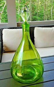 """1969 Blenko Art Glass #6953 21"""" Tall AIRTRAP Stopper Green Bottle"""