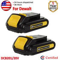 2)New For Dewalt DCB201 DCB203 DCB207 20V 20 Volt Max 2.0Ah Lithium Ion Battery