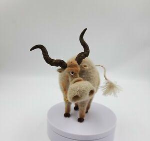 Crochet bull frame toy, handmade gift 6 in