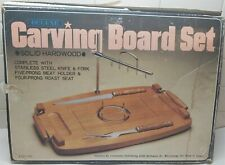 Vintage Wood Meat Cutting/Carving Board Adjustable Metal Arm Holding Spikes
