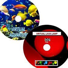 VIRTUAL AQUARIUM & LAVA LAMP GREAT 2 DVD VIDEO SET VIEW ON FLATSCREEN TV/PC NEW