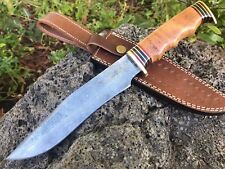 "HUNTEX Handmade Damascus 13"" Long Full Tang Olive Wood Hunting Bowie Dagger"