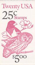 U.S. BKLT OF 20 SCOTT#BK160 1988 25ct OWL/GROSBEAK P#1211 BELOW FACE