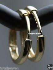 "Classic Solid 14K Yellow Gold Endless Huggies Hoop Earrings 1/2"" Heavy 1.12g"