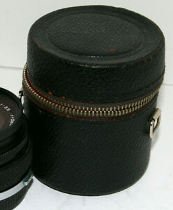 "Vintage Soft Leather Case 3 1/4"" For Small Nikon Pentax Canon Tamron Sony Lenses"