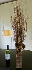 98 cm Brown willow in free wood vase FREE 20 warm LED lights weddings Xmas