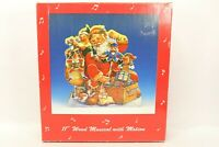 "Vintage 11"" Wood Musical With Motion Santa Christmas"