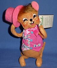 "Annalee Springtime Boy Mouse 8"" Brown-Happy Face Bendable;Pink Top hat NWT 2016"