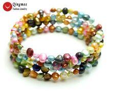 4-5mm White Baroque Natural Pearl Steel Wire Wrap Bracelet for Women 28'' bra449