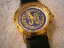 NIB Watt Homes Goldtone Black Leather Watch California Builder Advertising