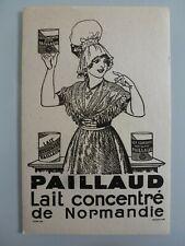 PAILLAUD LAIT CONCENTRE DE NORMANDIE / BUVARD PUBLICITAIRE  ANCIEN
