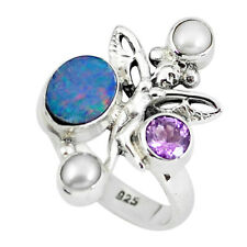 Natural Blue Doublet Opal Australian Silver Angel Wings Fairy Ring Size 7 P60282