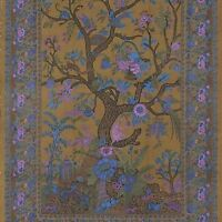 """""""Handmade"""" 100% Cotton Tree of Life Tapestry Tablecloth Spread Full 88x104 Olive"""