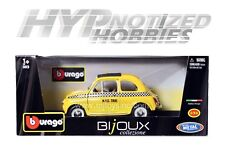 BBURAGO 1:24 FIAT 500 TAXI DIE-CAST YELLOW 22105