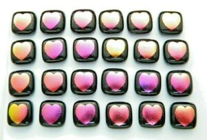 HEARTS ETCHED Lot 24 pcs DICHROIC FUSED GLASS earrings (M9) CAB HAND MADE