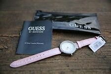 Guess Women's  Dress Fashion Wrist Watch White Crystal Face Pink Leather Band