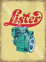 Lister Engine Vintage Agricultural Machinery Petrol Oil, Large Metal Tin Sign