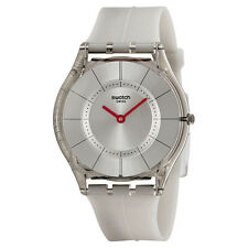 Swatch Skin Ghost Silver Dial White Silicone Ladies Watch SFM129