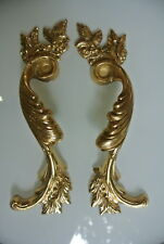 """2 large french style pulls handles solid brass vintage style doors 11""""polished B"""