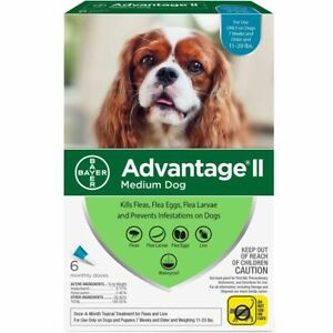 Advantage II for Medium Dogs (11-20 lbs, 6 Pack) USA EPA Approved