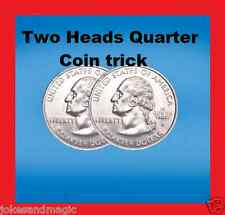 Double Sided Quarter coin trick, 2 Headed quarter joker coin trick prank joke