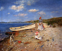 Oil painting William Merritt Chase - A Sunny Day at Shinnecock Bay lady & child