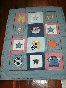 Kids Line Bright Future Boys Crib Quilt Sports Kidsline Blanket GC
