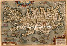 Ortelius Islandia Iceland Reproduction Vintage Old Antique Colour Map Plan Print