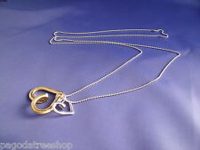 New Long Silver Necklace with Double Heart Pendant