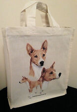 Basenji Natural Cotton Small Fun Party Bag Tote with Gusset Useful Gift