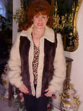 GREAT Vintage Ladies MINK & LEATHER Sweater Coat Jacket BEAUTIFUL S/M