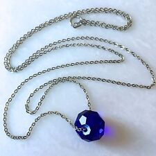 "Royal Blue Crystal Necklace--Oval Faceted Bead on 26"" Stainless Steel Chain"